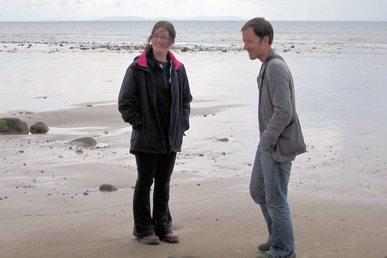 My son Dave and daughter Liz on the beach at Amroth: 9th September 2013