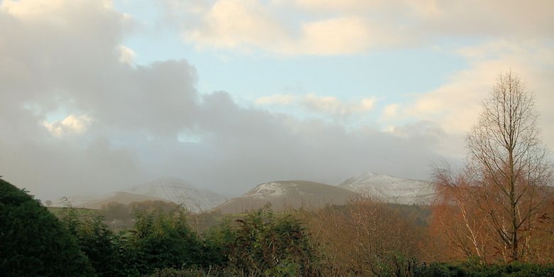 Thin covering of snow on the peaks following a frosty night: 20th December 2013