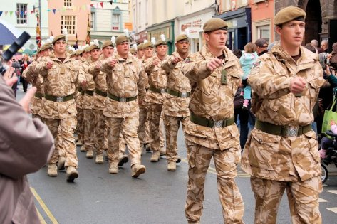 Soldiers march through the streets of Brecon on their return from duty in Afghanistan (May 2010).